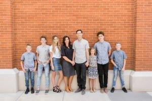 family brick wall soft light