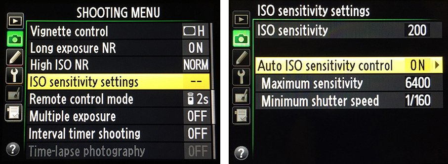 nikon menus for setting auto ISO