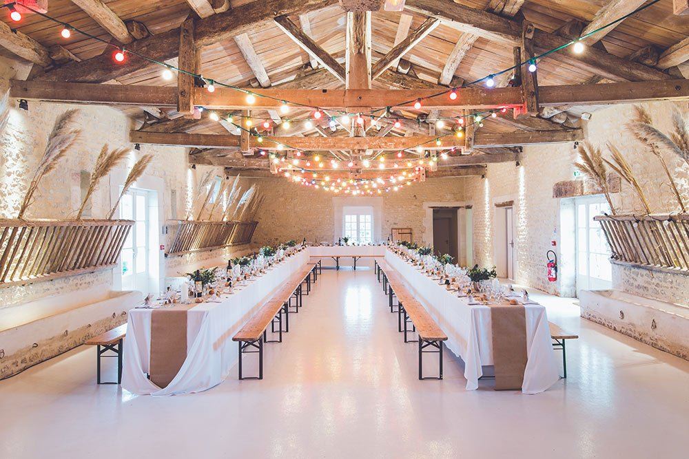 wedding reception with even light