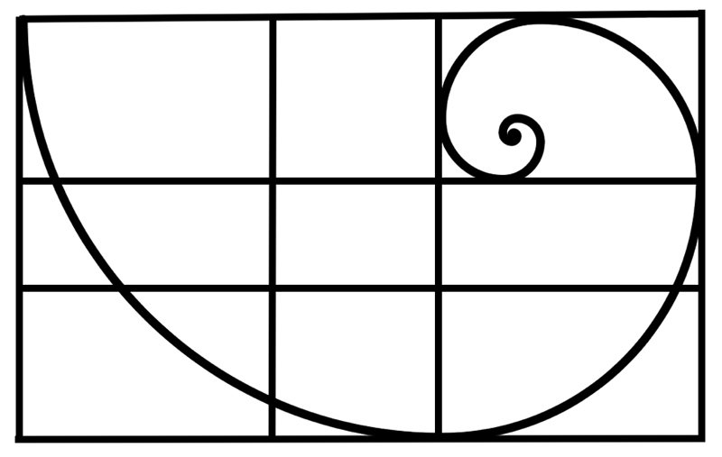 fibonacci spiral with golden ratio lines