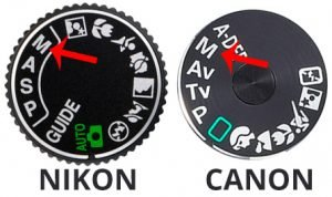 nikon and canon shooting mode dial in manual