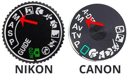 nikon and canon shooting mode dial in manual