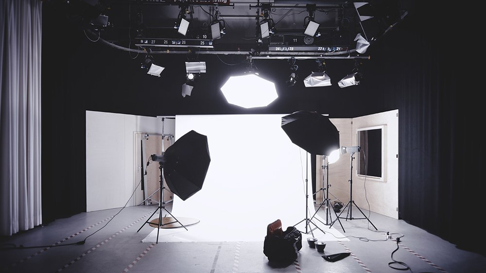 photography studio with strobes