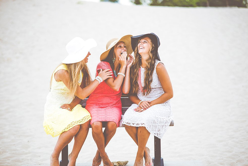 teenage girls laughing together