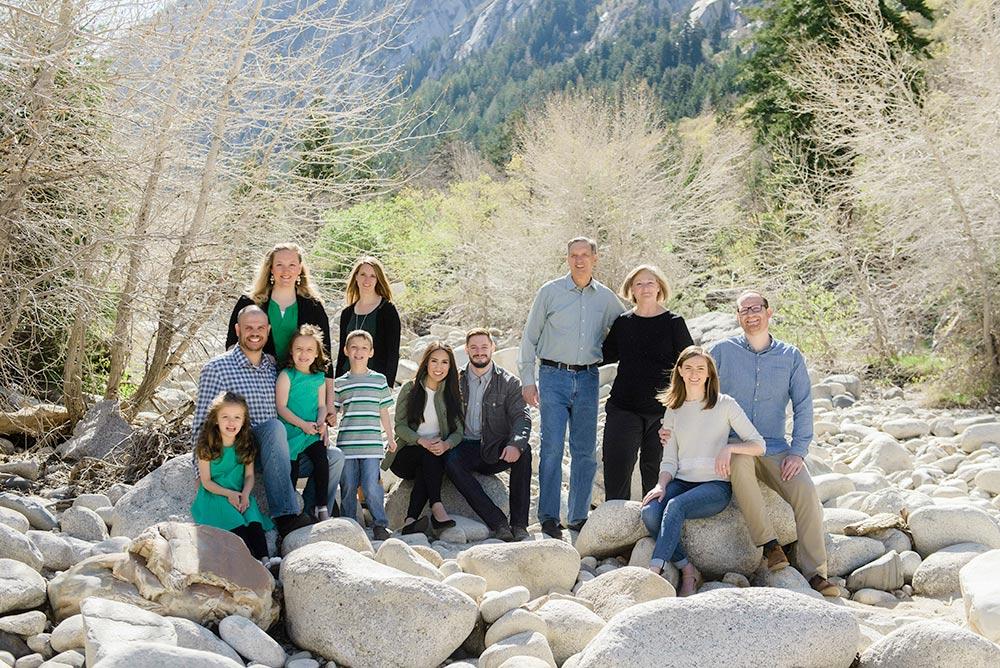 family group portrait on rocks