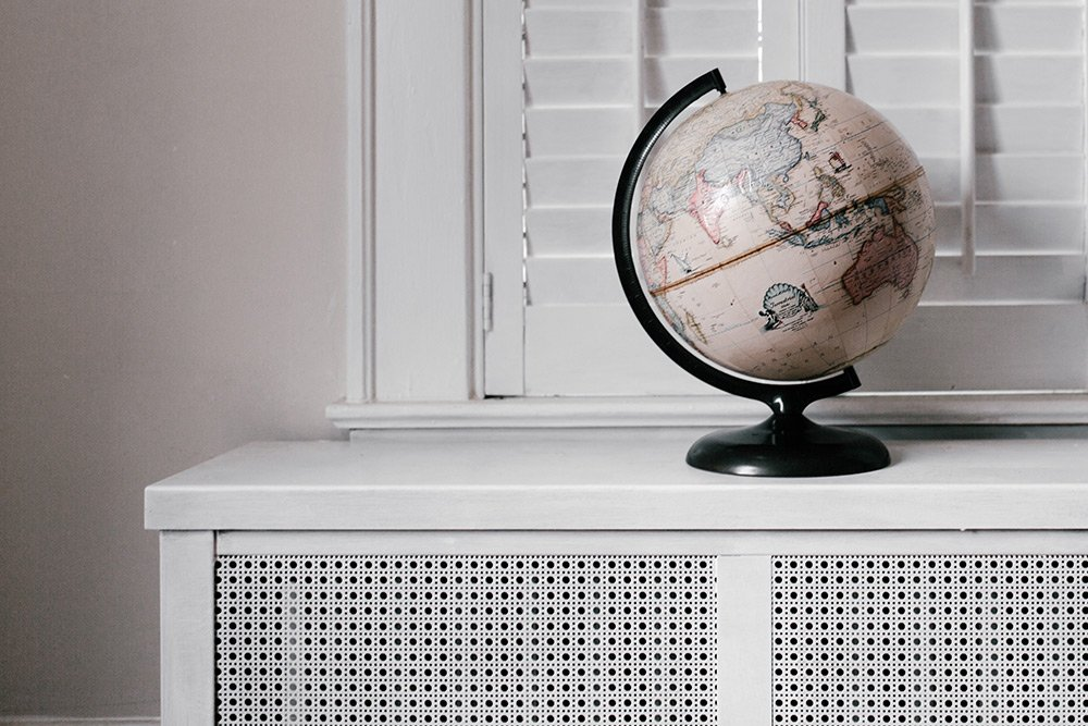 globe on a shelf