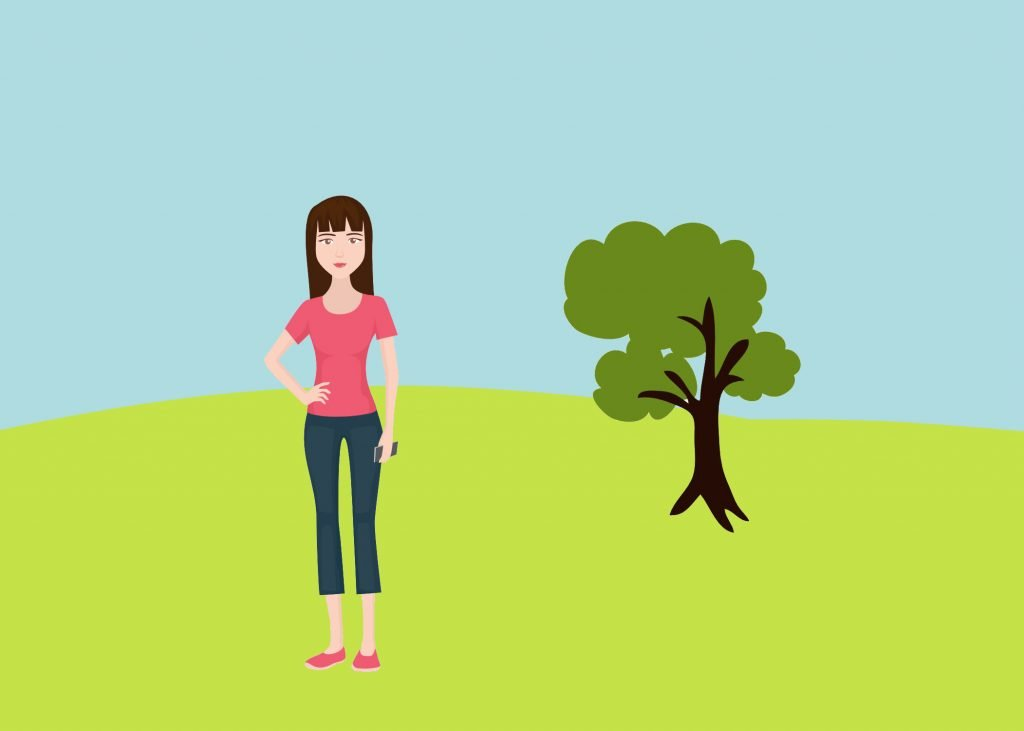 Drawing of girl on green field and tree