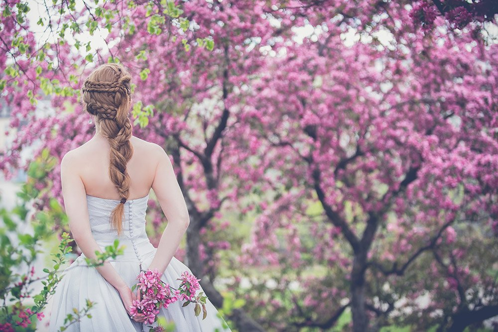 bride with cherry blossoms