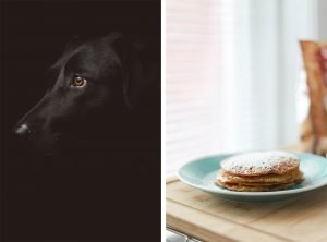 two images that demonstrate simplifying photography: image of dog against a dark background and image of pancakes against a light background