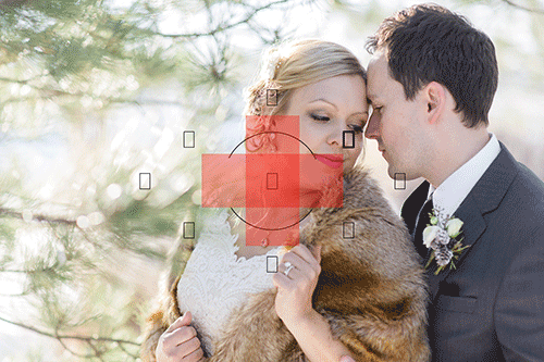 bride and groom snuggling with partial metering icon