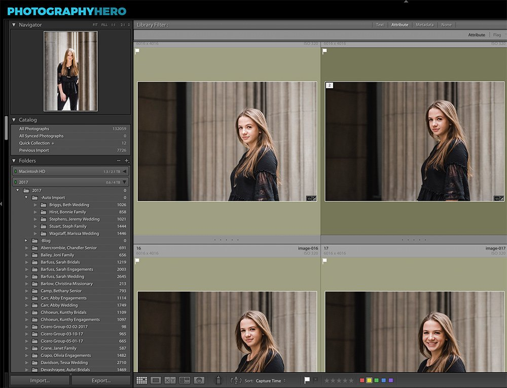 image of lightroom catalog library module showing organization in lightroom