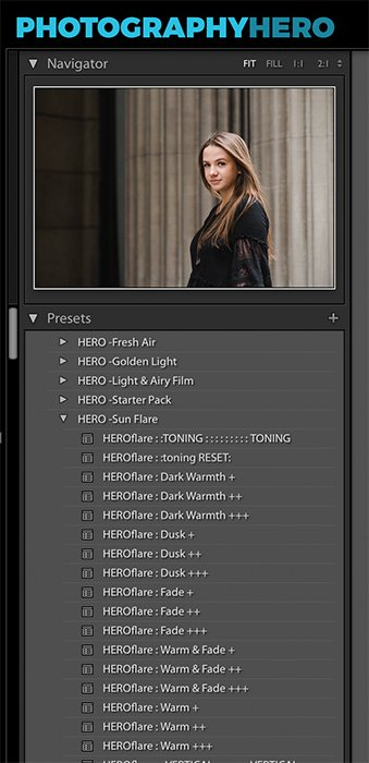 preset panel in lightroom