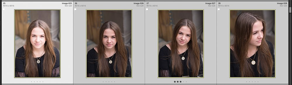 4 images of a girl in lightroom that are close up headshots