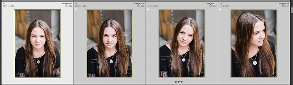 4 images of a girl in lightroom that are close up headshots all edited to show the power of syncing in lightroom