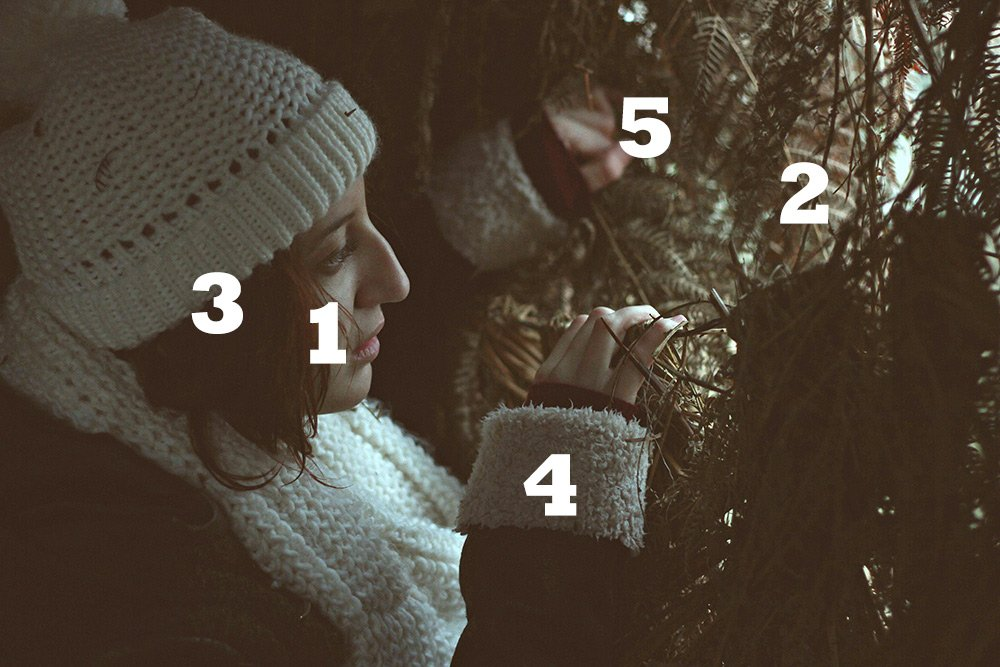 a girl wearing a snow coat and hat peering through some bushes with numbers on the image to show where the viewers eye goes as they view this image