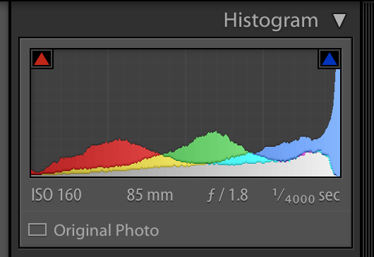 image of the histogram panel in lightroom showing which colors are being clipped