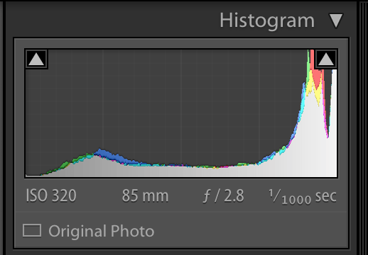 image of lightroom histogram showing the highlights clipped