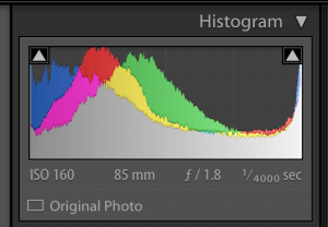 image of lightroom histogram showing the highlights and shadows clipped
