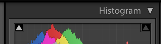 image of the histogram panel in lightroom showing clipping off