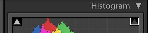 image of the histogram panel in lightroom showing only highlight clipping turned on