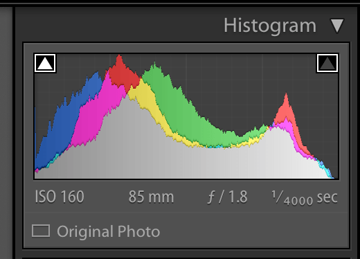 lightroom histogram showing the no clipping in the shadows and highlights