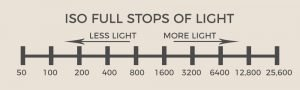 chart showing stops of light with ISO