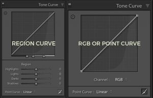 two images showing both the region curve and the RGB curve from the tone curve panel in Lightroom