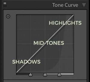 the tone curve panel in Lightroom showing shadows, midtones, and highlights