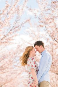a high key image of an engagement couple holding hands facing and looking at each other with cherry blossoms in the background