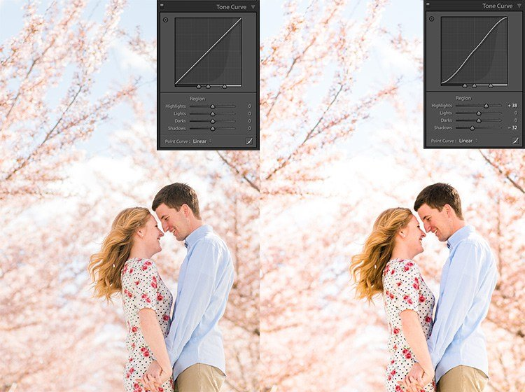 the same image of an engagement couple holding hands, one with contrast regular and one with contrast boosted by adding an S curve to the region panel in Lightroom.