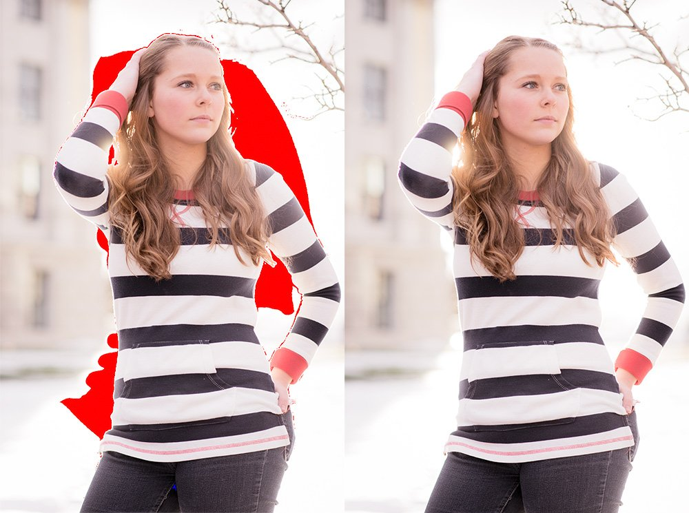 two images of the same girl with one image showing red clipping from lightroom