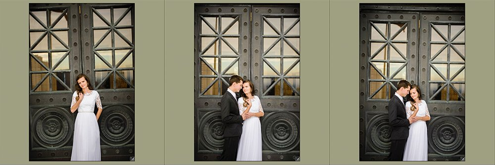 Three images from the lightroom library of a bride and groom standing in front of a black door. Each image is crooked in a different way.