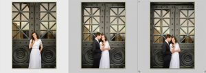Three images from the lightroom library of a bride and groom standing in front of a black door. Each image is now straight by using the transform panel in lightroom.