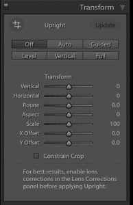An image of the transform panel in lightroom cc