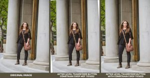three of the same image of a teenage girl standing outside a building. The first image is crooked and the second two are straight using the transform panel in Lightroom