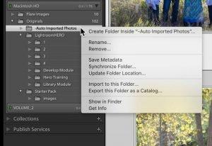 Lightroom dialog box in the folders panel to create folders