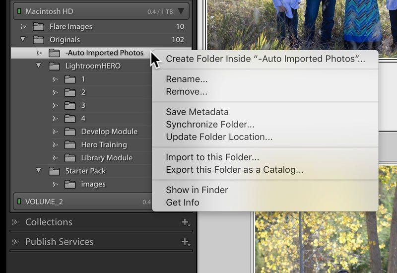 Lightroom dialog box in the folders panel to create folders