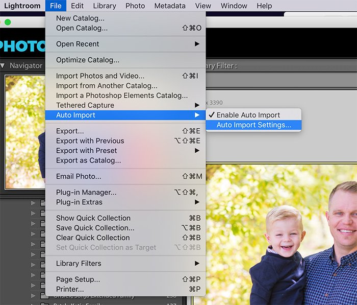 Lightroom menu to select the Auto Import Settings