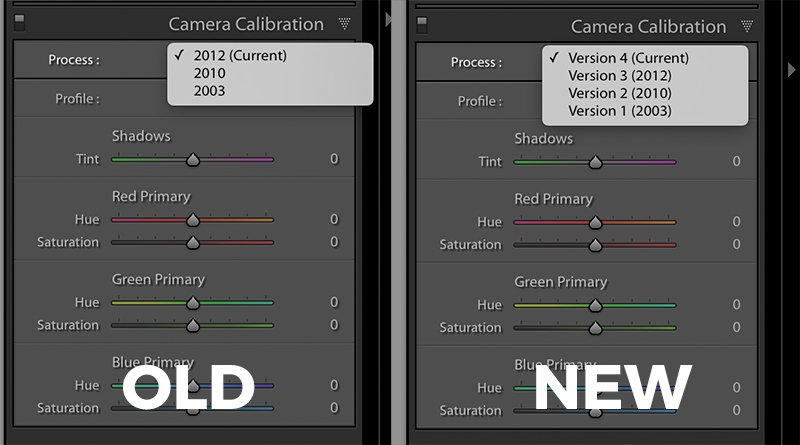 image showing the camera calibration panel in Lightroom and Lightroom Classic