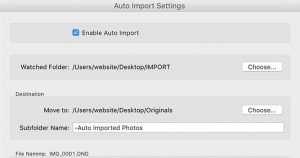 An image from the Auto Import dialog box in Lightroom showing the watched and destination folders.
