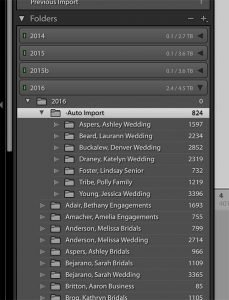 image showing the folders panel in Lightroom with sessions organized by session name and year