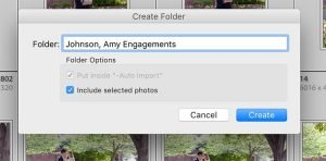 image showing the Lightroom dialog box for create folder in this folder with the include selected photos button checked.