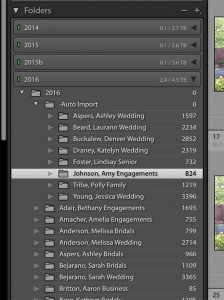 image of the folders panel in Lightroom
