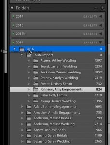 image showing the folders panel in Lightroom while dragging a folder of images from one folder to another.