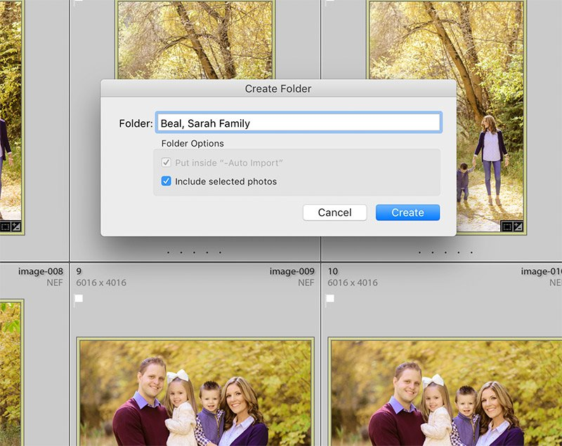 image showing how to create a folder from within the folders panel of Lightroom