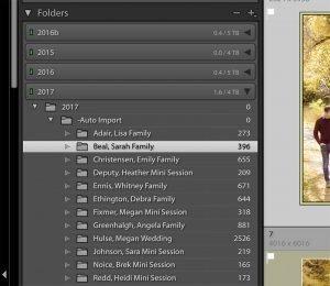 image showing the folders panel in Lightroom.