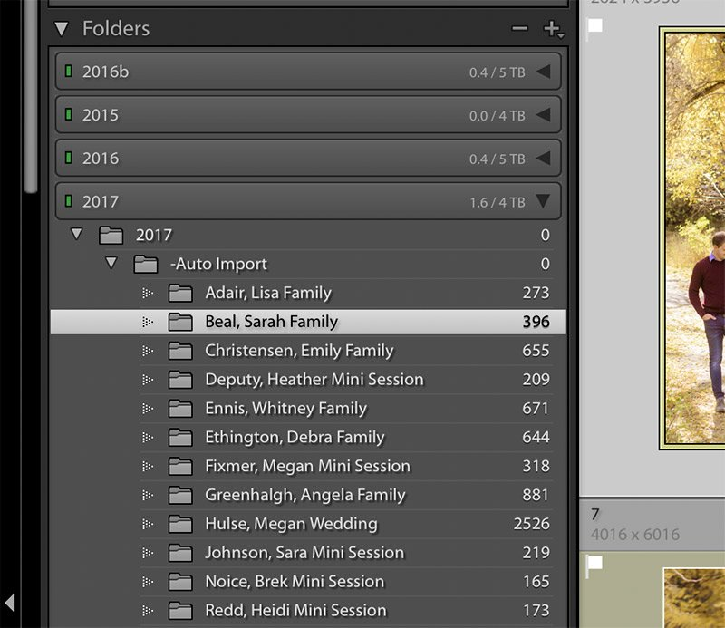 image showing the folders panel in Lightroom.