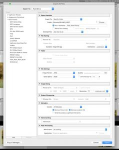 image showing the Lightroom export dialog box