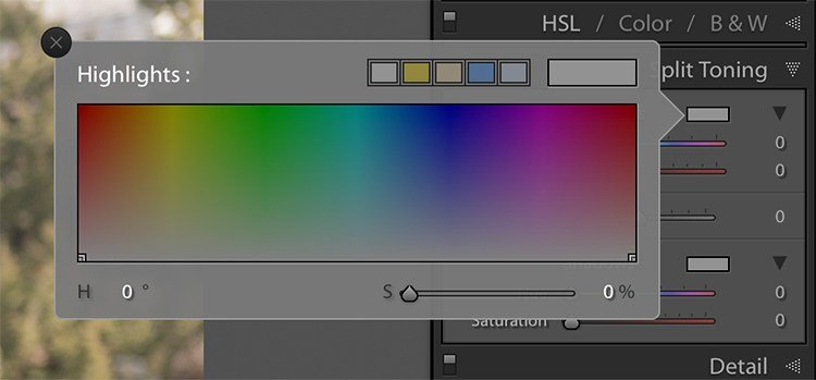 image of the highlights color picker in the split toning panel in lightroom