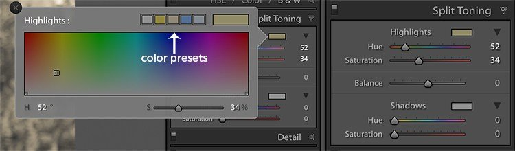 image of the split toning panel in Lightroom showing preset color options in the color picker
